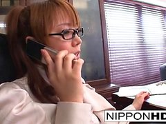 Japanese secretary masturbates at her desk