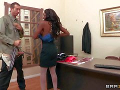 Tempting busty black secretary diamond pleasures Jordan in office