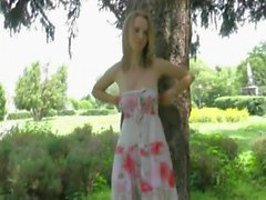 Anya - nude angel in public park