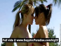 Naughty brunette and blonde lesbos kissing and licking nipples