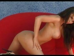 Horny beautiful Gemma Massey gets to hot to horny alone naked in her red couch