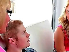 MILF Melanie joins teens in threeway sex