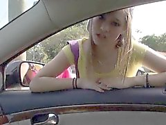 Amateur teen London Smith gives head and nailed in the car