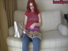 Tori Bell female desperation wetting jeans
