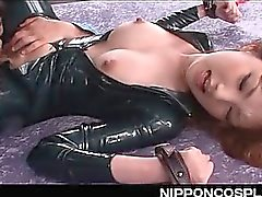 Japanese tied up hottie deep throated in a BDSM cosplay video
