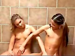 Two lesbian schoolgirls are caught by lesbian teacher and have a threesome