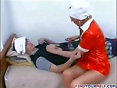 Mature Russian nurse seduce patient
