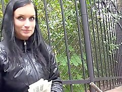 Czech slut flashes her big tits and fucked for some money