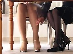 Elegant Oriental ladies in high heels put their sexy legs o