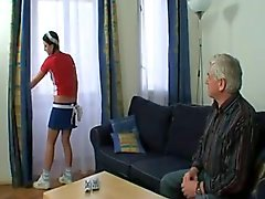 Grandpa Creams His Sexy Young Housemaid !