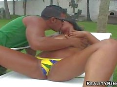 brazilian babe with huge tits gets shagged in backyard