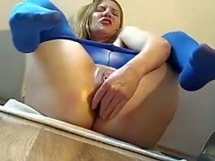 Cam blonde in blue tights