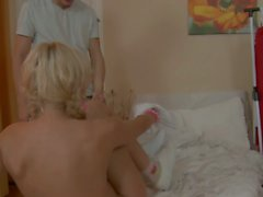 blond cutie heather takes fat cock doggy style