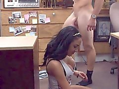 Big tits for huge cock in a pawn shop for some cash