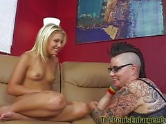 Young lesbian licked by tattooed butch