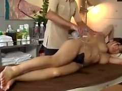 Hidden cam on asian massage fingering