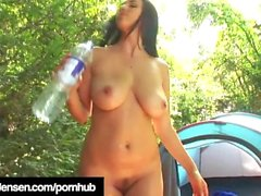 Busty Brunette Jelena Jensen Gets Nude & Lewd While Camping!