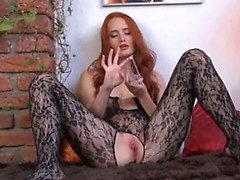 Gyno toy in her huge redhead hole
