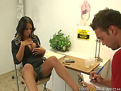 Spectacular Dark Brown Doctor Angelina Valentine Receives Your Blood Pumpin