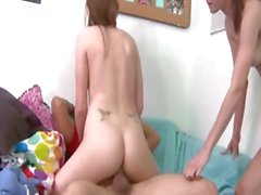 Incredible threesome penetrate on bed