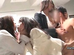 Office threesome japanese sex