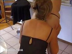 French babes decide to do some pussy eating in the kitchen