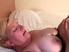 Big tits mature masturbates with huge dildo