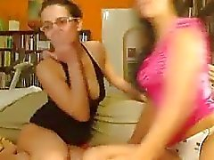 Two Webcam Lesbians Fuck With Strapon