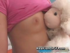 Beautiful french teen in pink panties