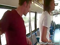 Blowjob turns to anal sex on the public bus for gay couple