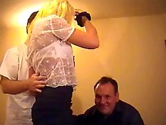 British slut Danielle gets fucked in a FMM threesome