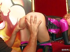 Latex clad Teen Molly Bennett with juicy pussy has sex with masked man
