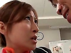 Sensual jap secretary babe stripped and fucked in her office
