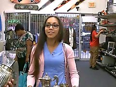 Girl does anything for cash and gets pounded in a pawn shop