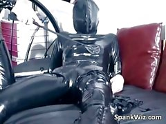 Girl in latex gets her hot sexy body spanked