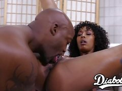 Tender ebony Misty Stone destroyed with raging black cock