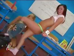Naughty and nasty detention sex for teenage lesbians in school