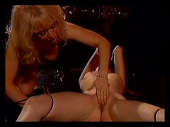 Whipping and pussy play for bound lesbian