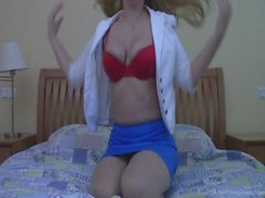 Glamorous blonde shows her private parts on webcam