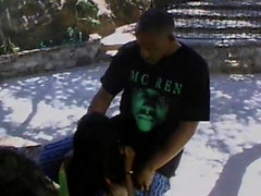 Black couple loves to fuck outdoors