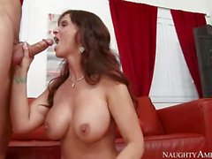Fiery Mom In Red Syren De Mer And White Stockings Fucks Son