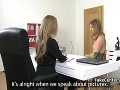 Lesbian babe got action on casting