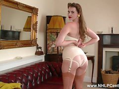 Brunette Brook Logan in vintage nylons strips off retro lingerie flaunts pussy for wanking session