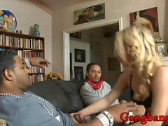 Curly blonde hair slut dped by black men on the couch
